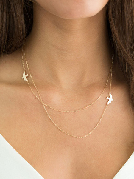 Milanoo Silver Layered Necklace Chain Necklace