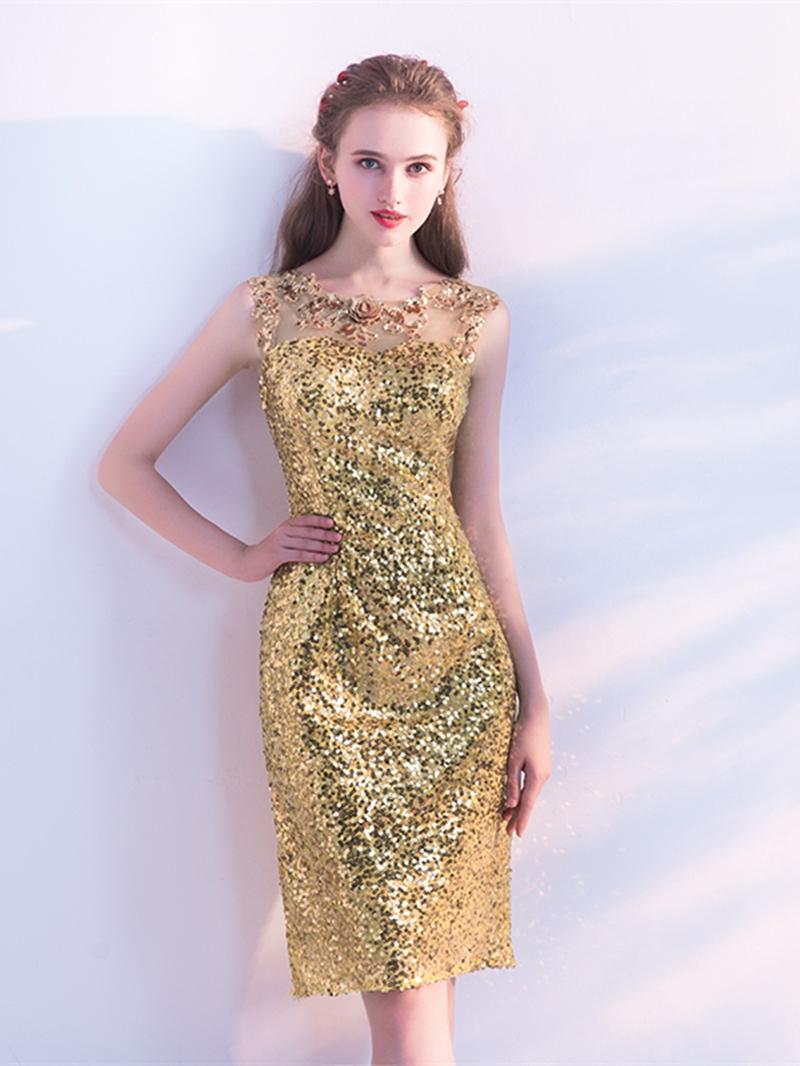 Ericdress Sheath Sleeveless Sequin Knee Length Homecoming Dress