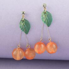 1pair Dangling Cherry Earrings