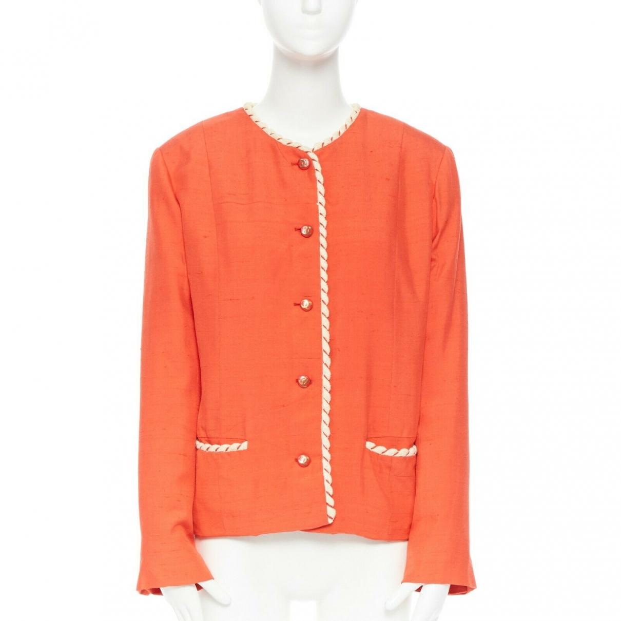 Chanel \N Orange Linen jacket for Women 16 UK