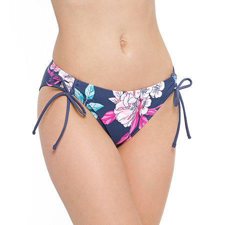 Arizona Floral Hipster Bikini Swimsuit Bottom Juniors, Medium , Blue