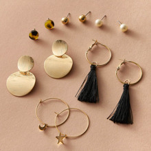 6pairs Tassel & Star Decor Textured Earrings