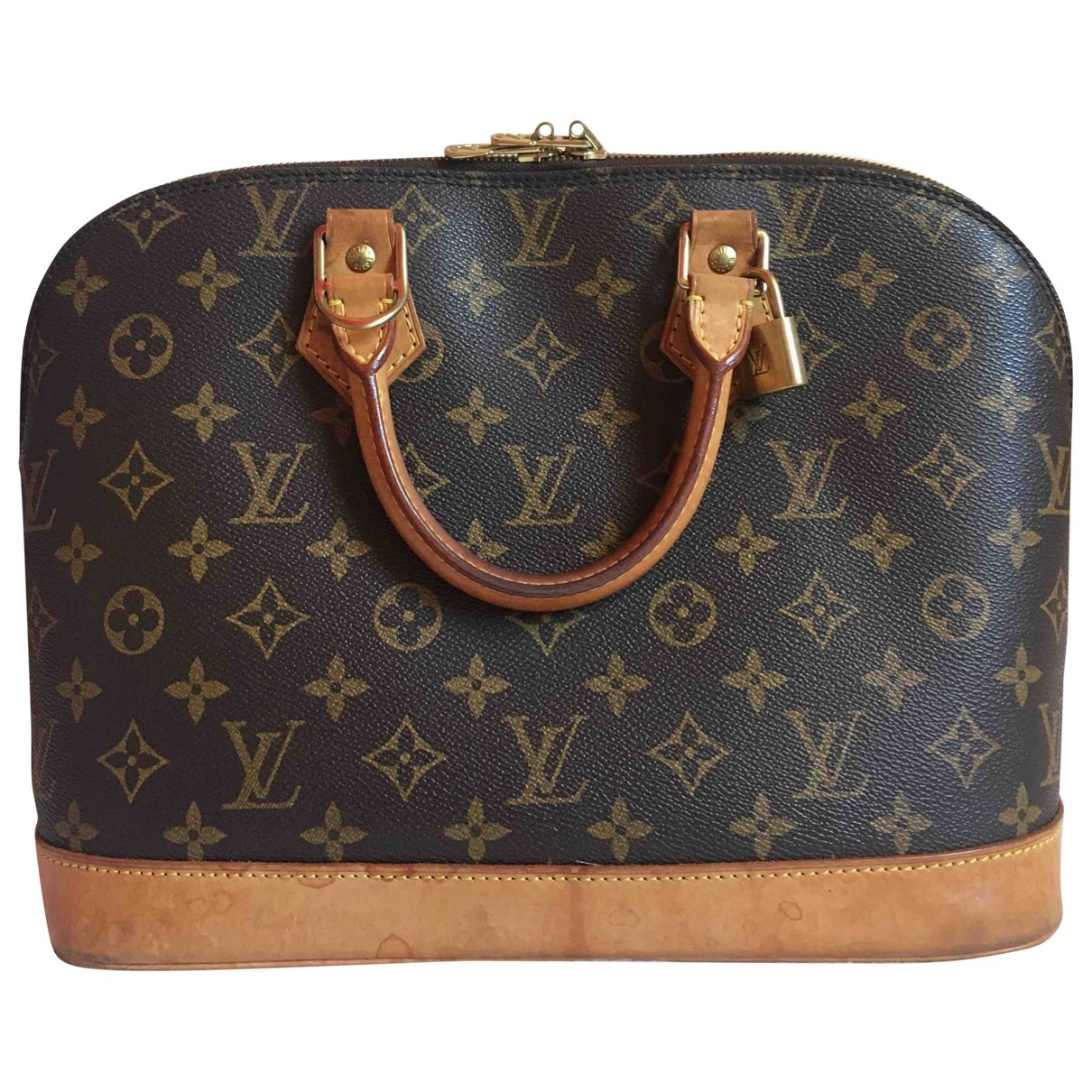 Louis Vuitton Alma Handtasche in  Braun Leinen
