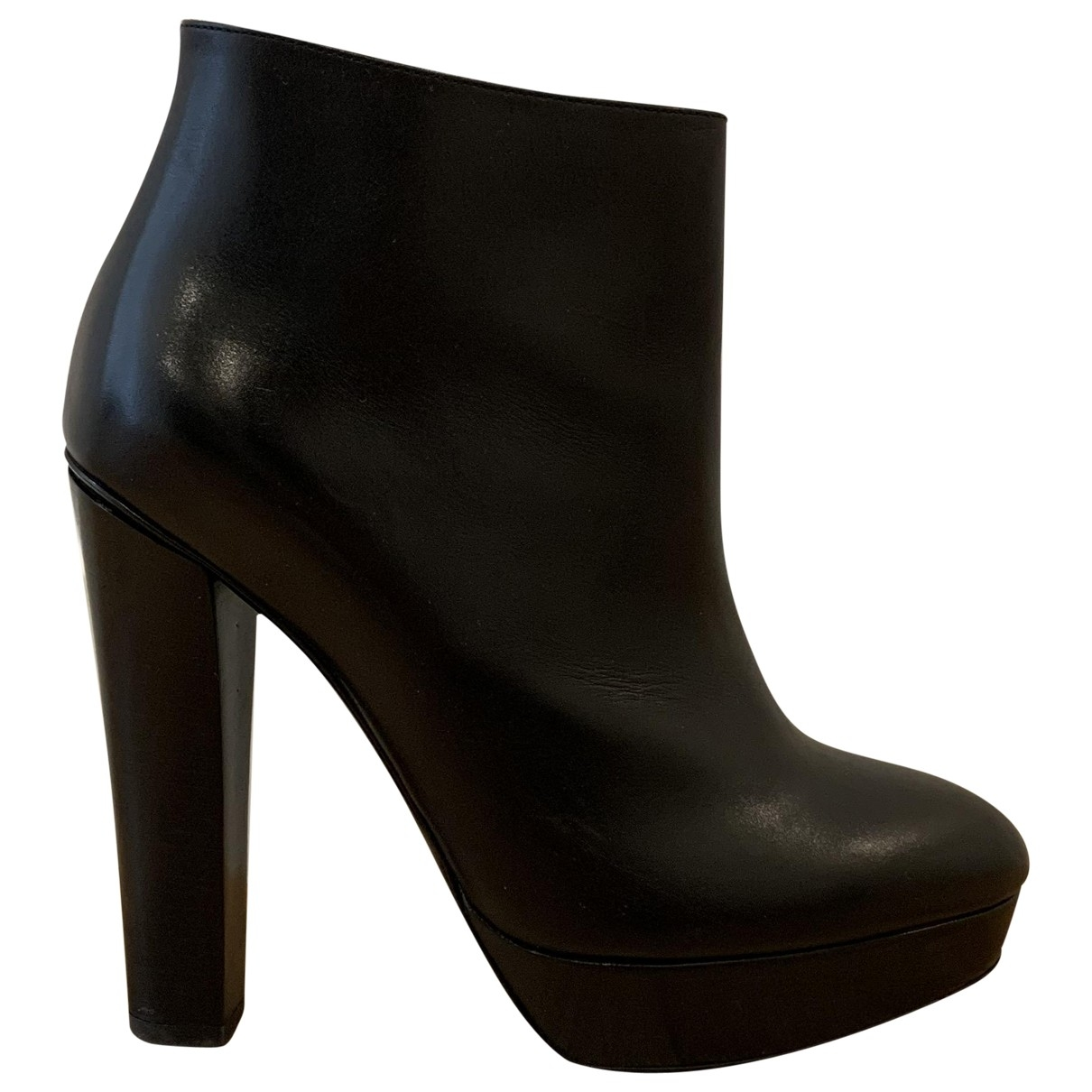 Ralph Lauren Collection - Boots   pour femme en cuir - noir