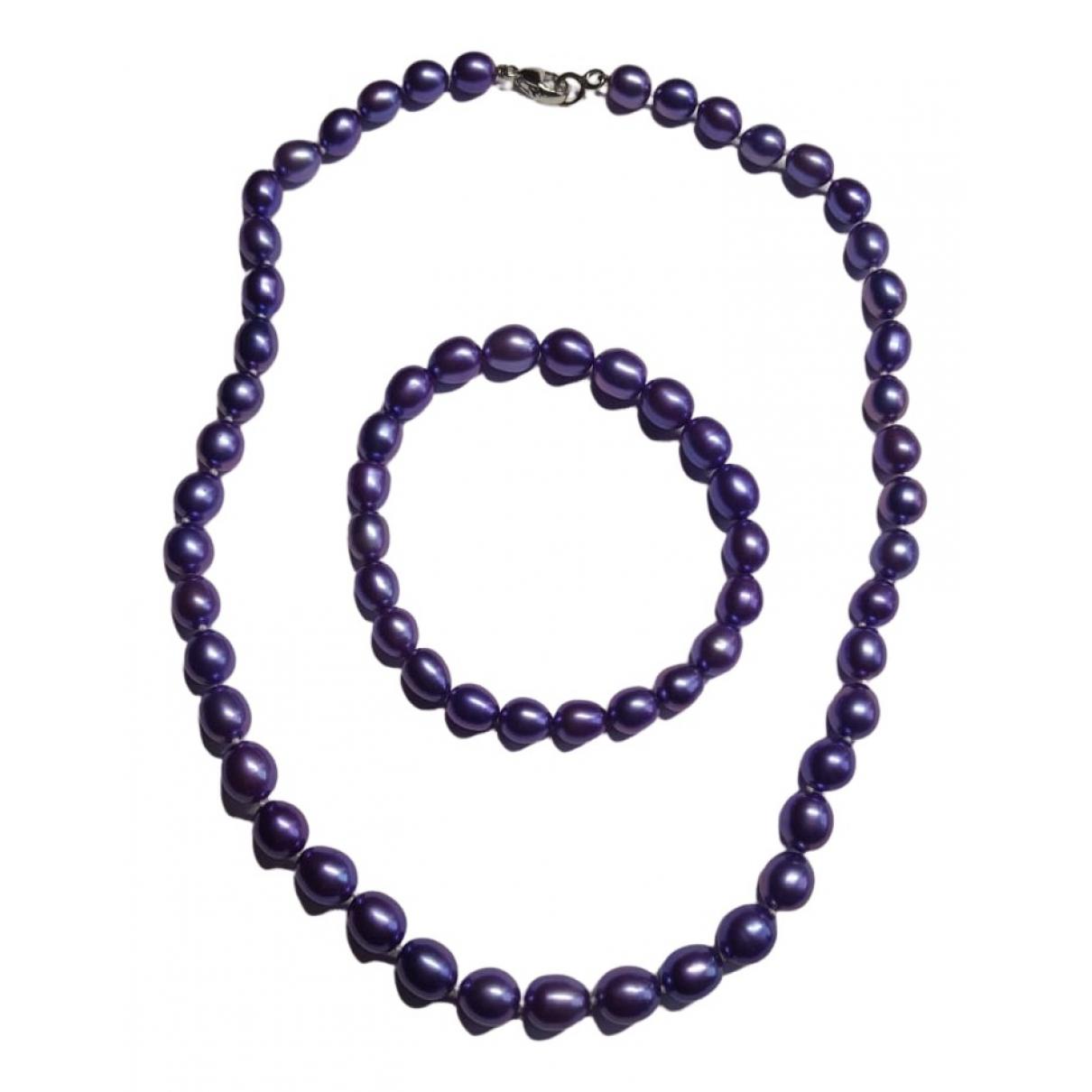 - Collier   pour femme en perle - violet
