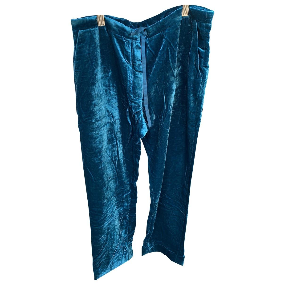 Mira Mikati N Blue Velvet Trousers for Women 38 FR
