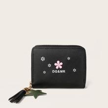 Monedero pequeño con diseño de flor con fleco
