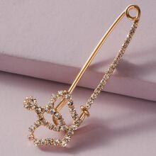 Horquilla con diseño de corona grabada con diamante de imitacion 1 pieza