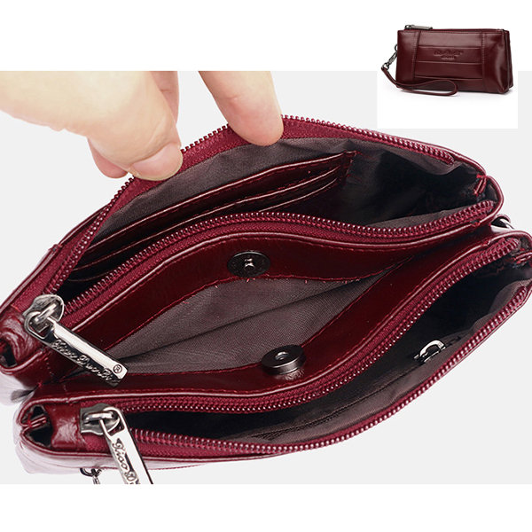 Men Genuine Leather Multi-function Wallet Card Holder 5.5 Inch Phone Bag