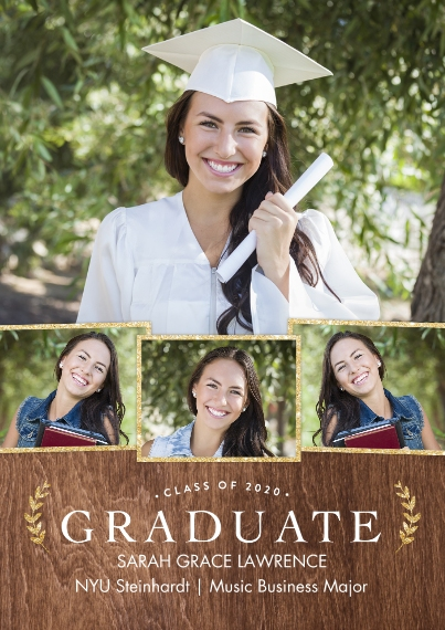 2020 Graduation Announcements 5x7 Cards, Premium Cardstock 120lb with Scalloped Corners, Card & Stationery -2020 Graduate Gold Laurels by Tumbalina