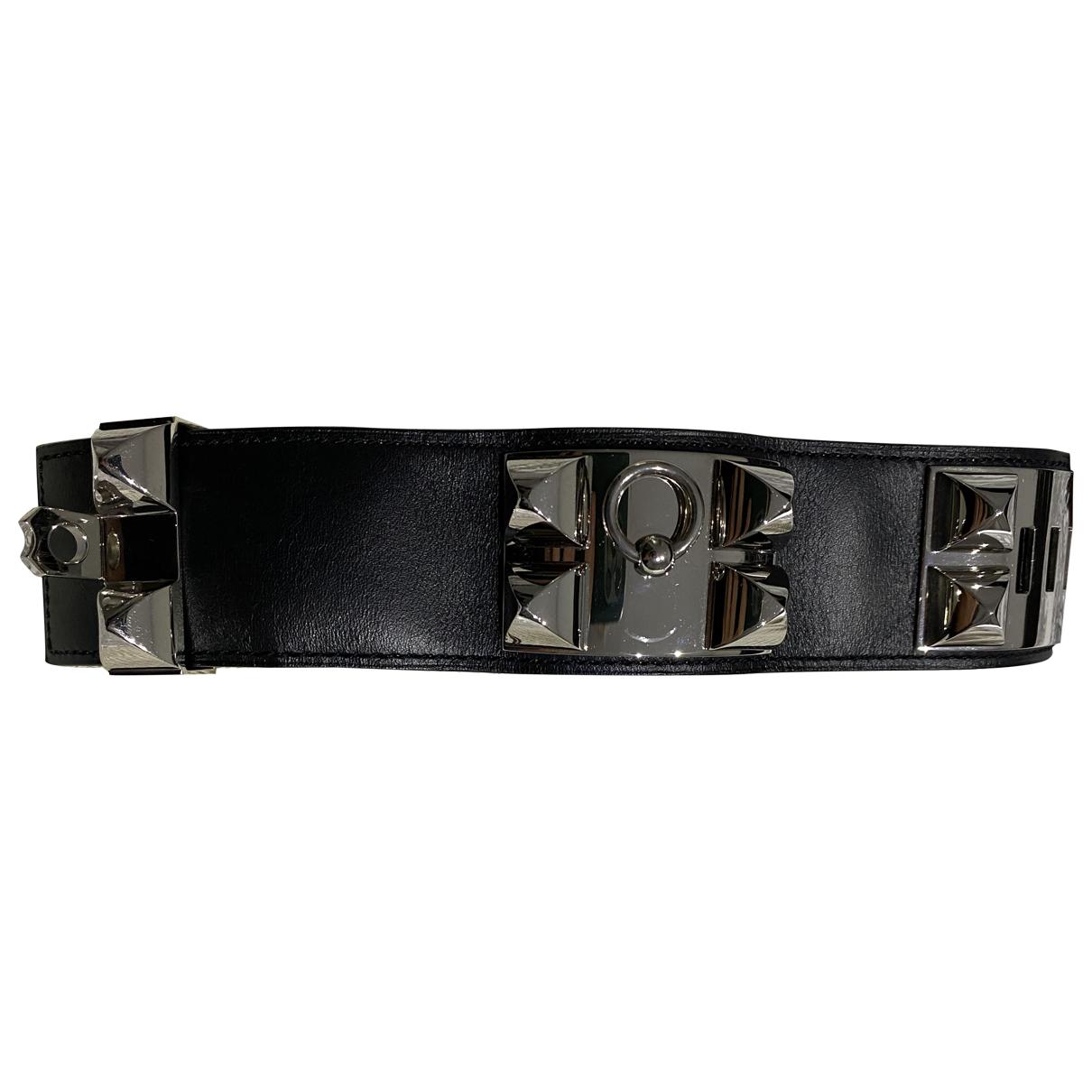 Hermes Collier de chien  Armband in  Schwarz Leder