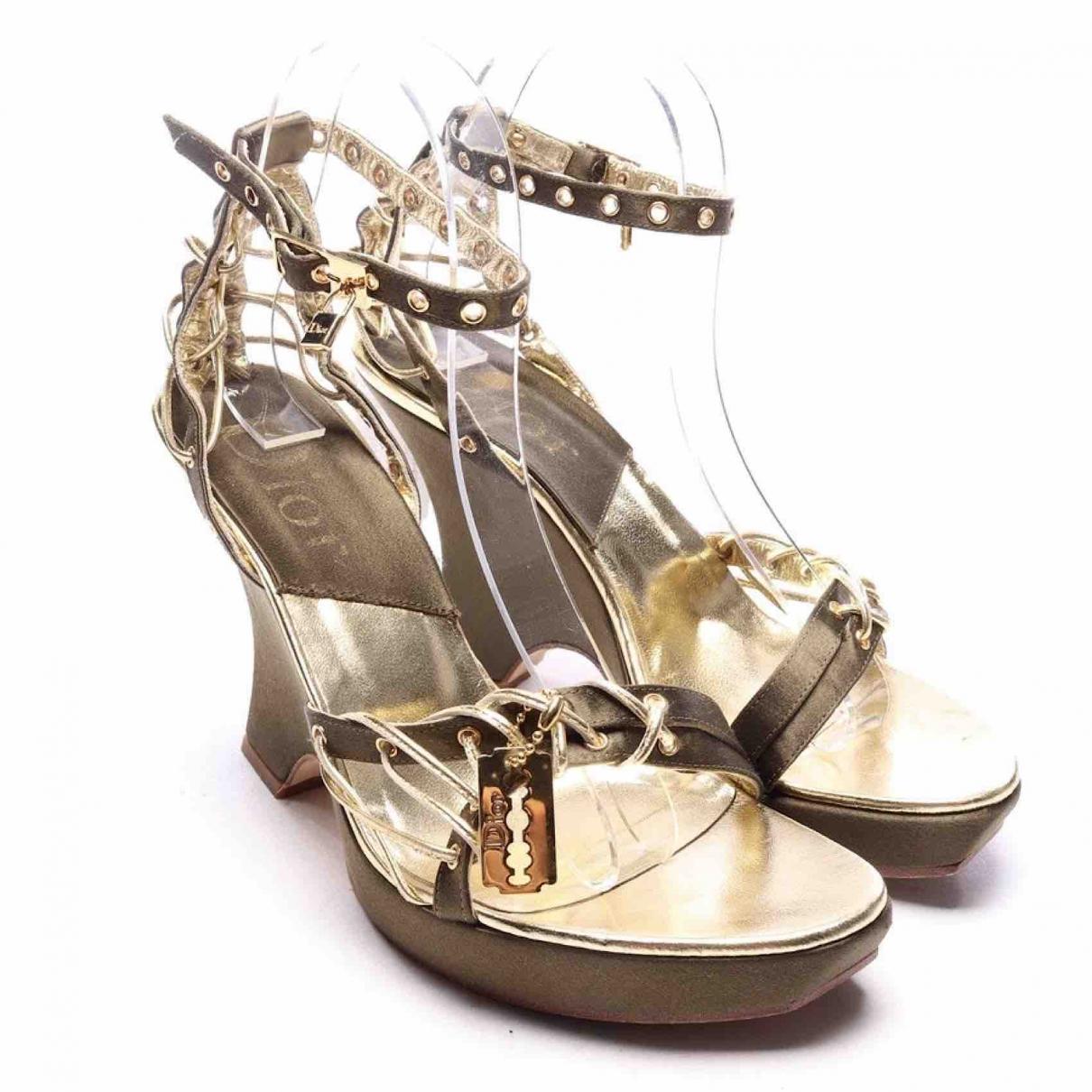 Dior \N Khaki Leather Sandals for Women 40 EU