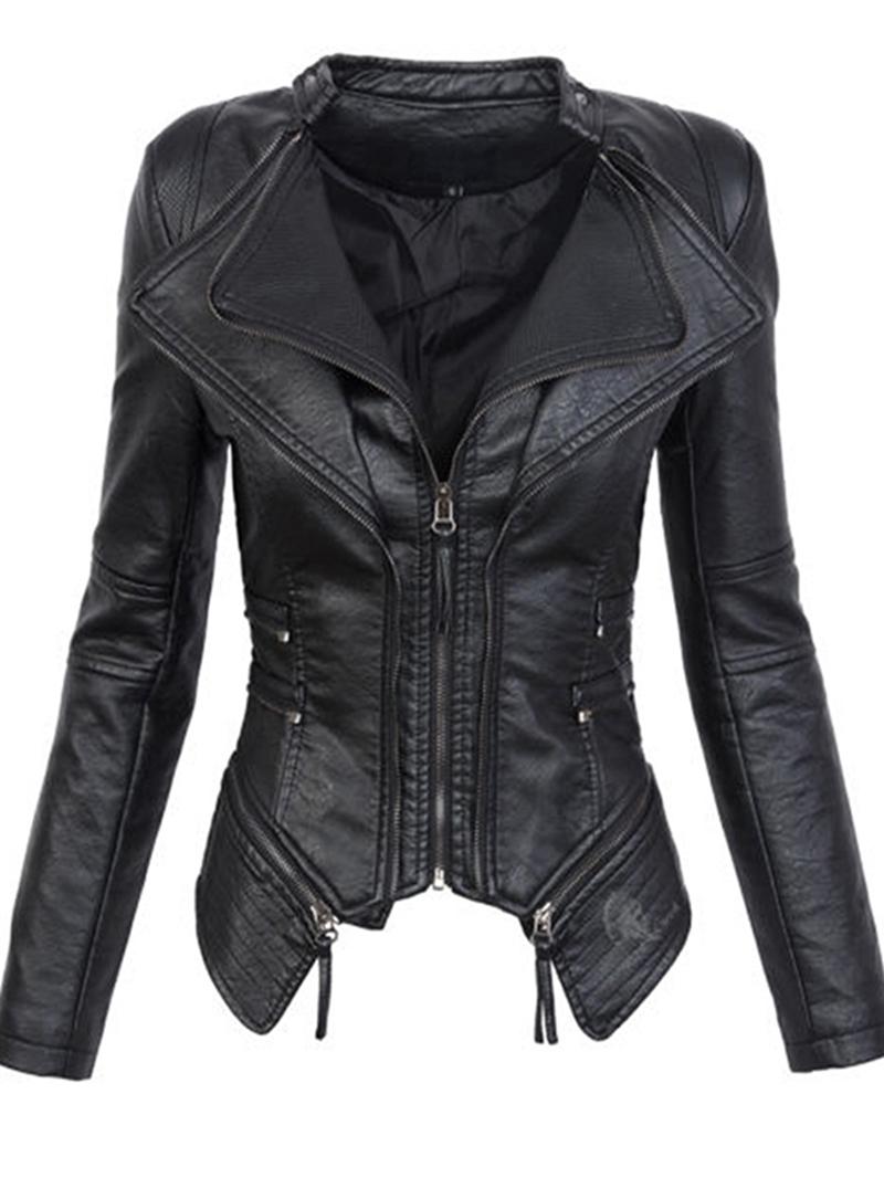 Ericdress Slim PU Zipper Fashion Jacket