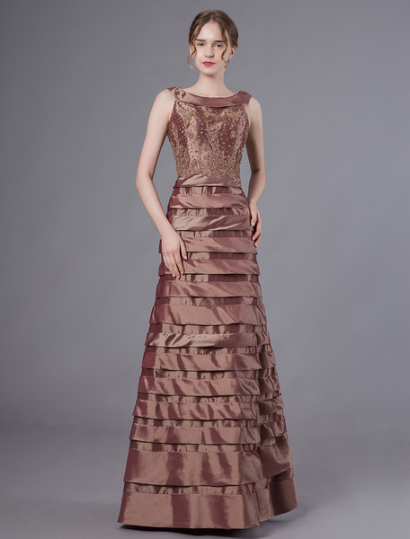 Milanoo Evening Dresses Taffeta Maxi Tiered Brown A Line Formal Gowns