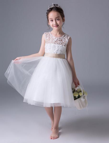 Milanoo Flower Girl Dresses Ivory Princess Tutu Dress Lace Open Back Sleeveless Tea Length Kids Party Dress