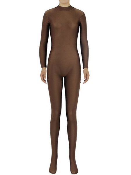Milanoo Coffee Brown Morph Suit Adults Bodysuit Lycra Spandex Catsuit for Women