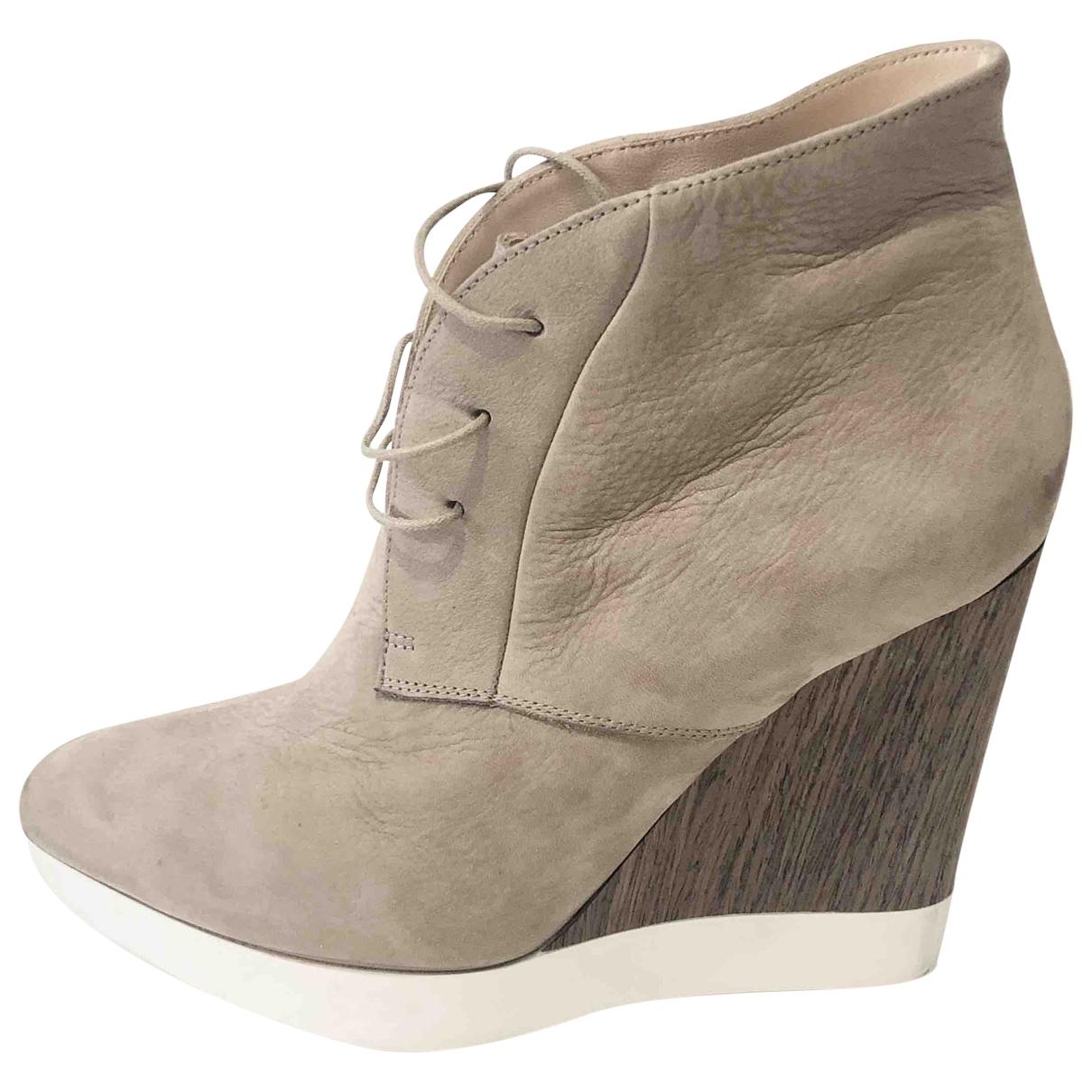 Jil Sander - Boots   pour femme en suede - beige