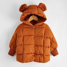 Toddler Girls 3D Ear Design Hooded Puffer Coat