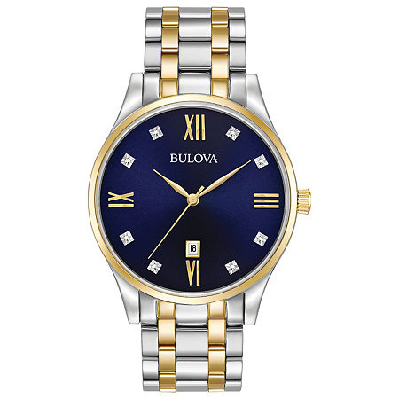 Bulova Classic Mens Two Tone Stainless Steel Bracelet Watch-98d130, One Size , No Color Family