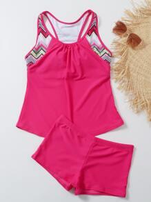 Contrast Geo Ruched Bikini Swimsuit