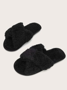 Criss Cross Fluffy Slippers
