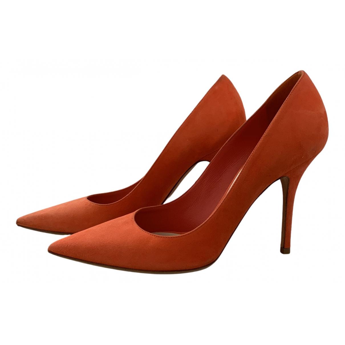 Dior N Orange Suede Heels for Women 38.5 EU