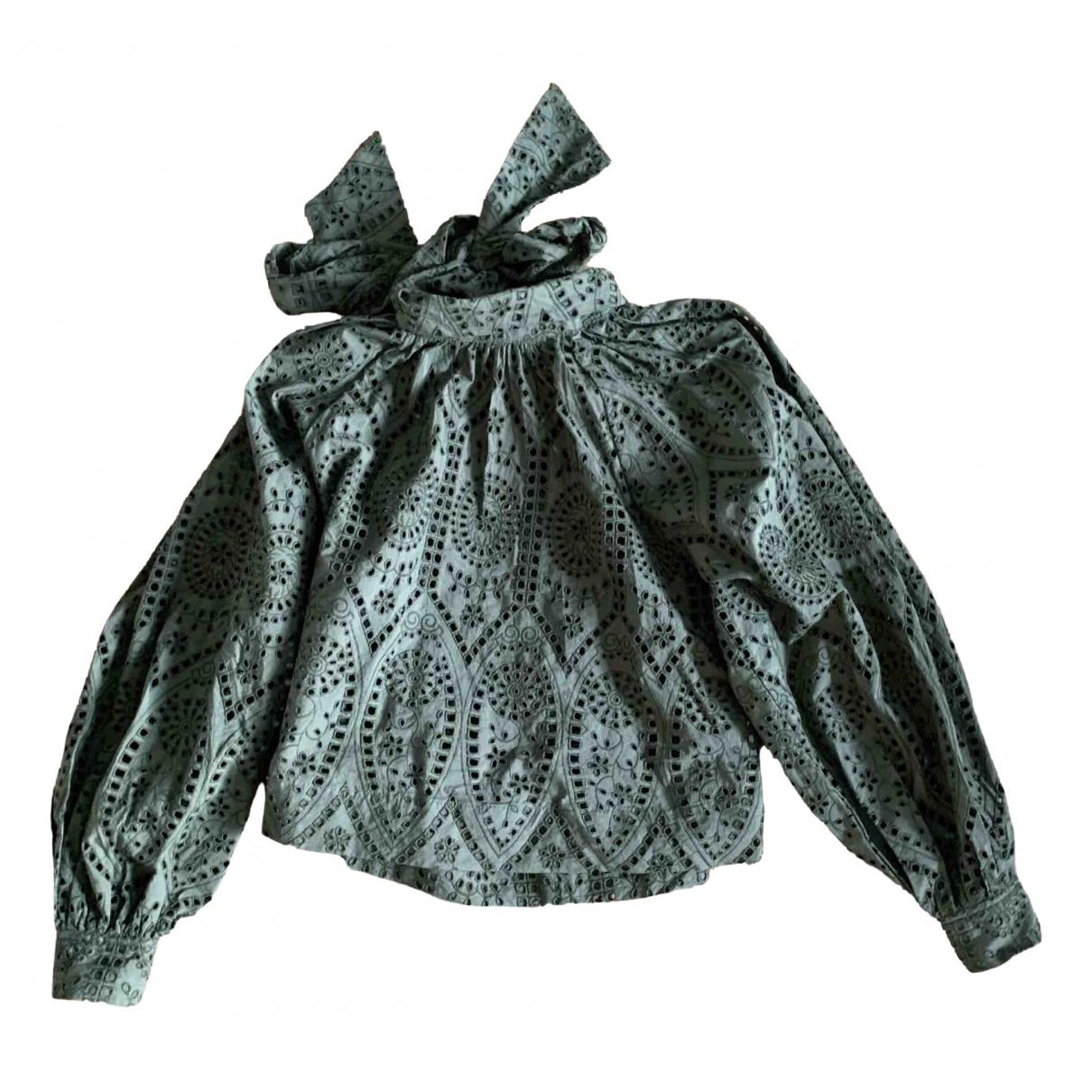 Ganni \N Khaki Cotton  top for Women 38 FR