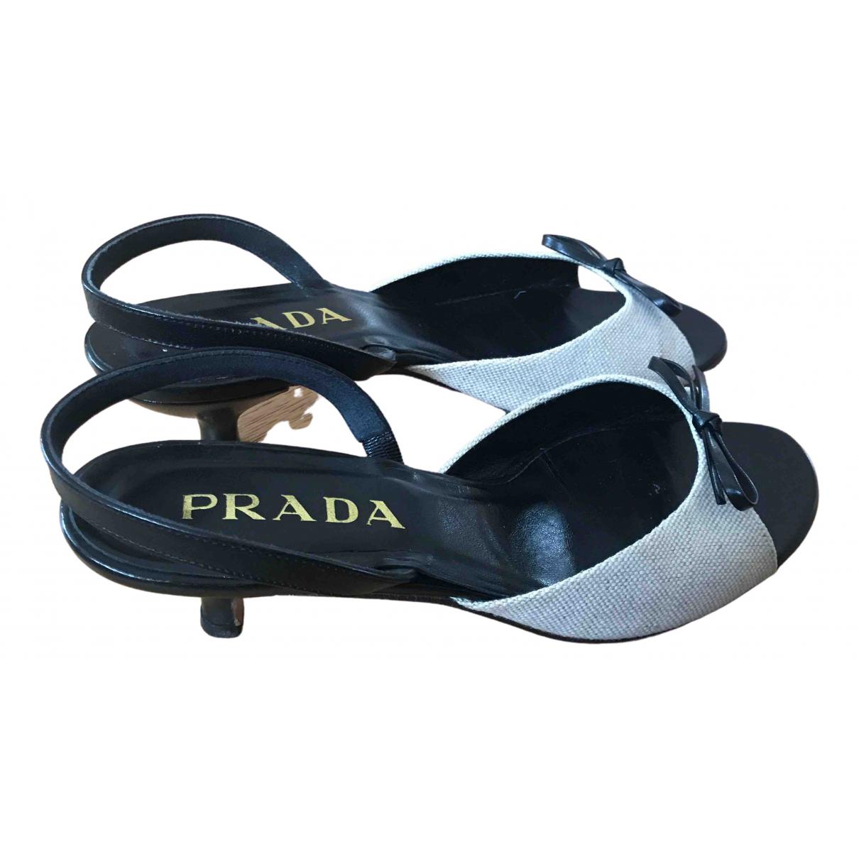 Prada - Sandales   pour femme en toile - ecru