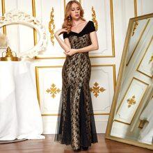 Angel-Fashions Sequin Godet Hem Lace Prom Dress