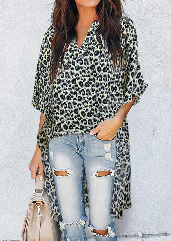 Leopard Batwing Sleeve Asymmetric Long Blouse