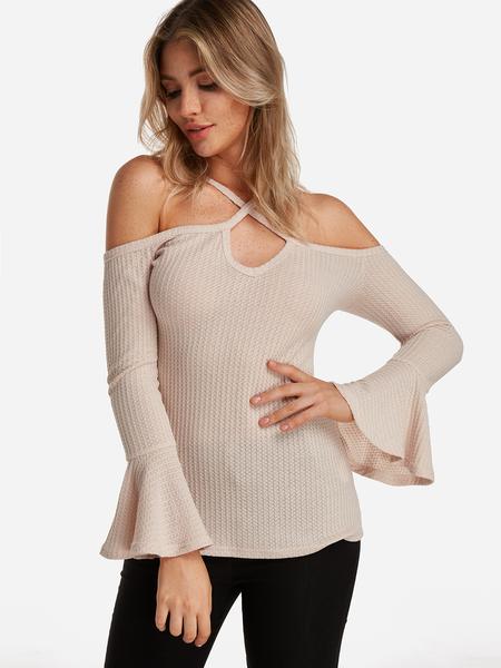 Yoins Beige Plain Halter Cold Shoulder Bell Sleeves T-shirts