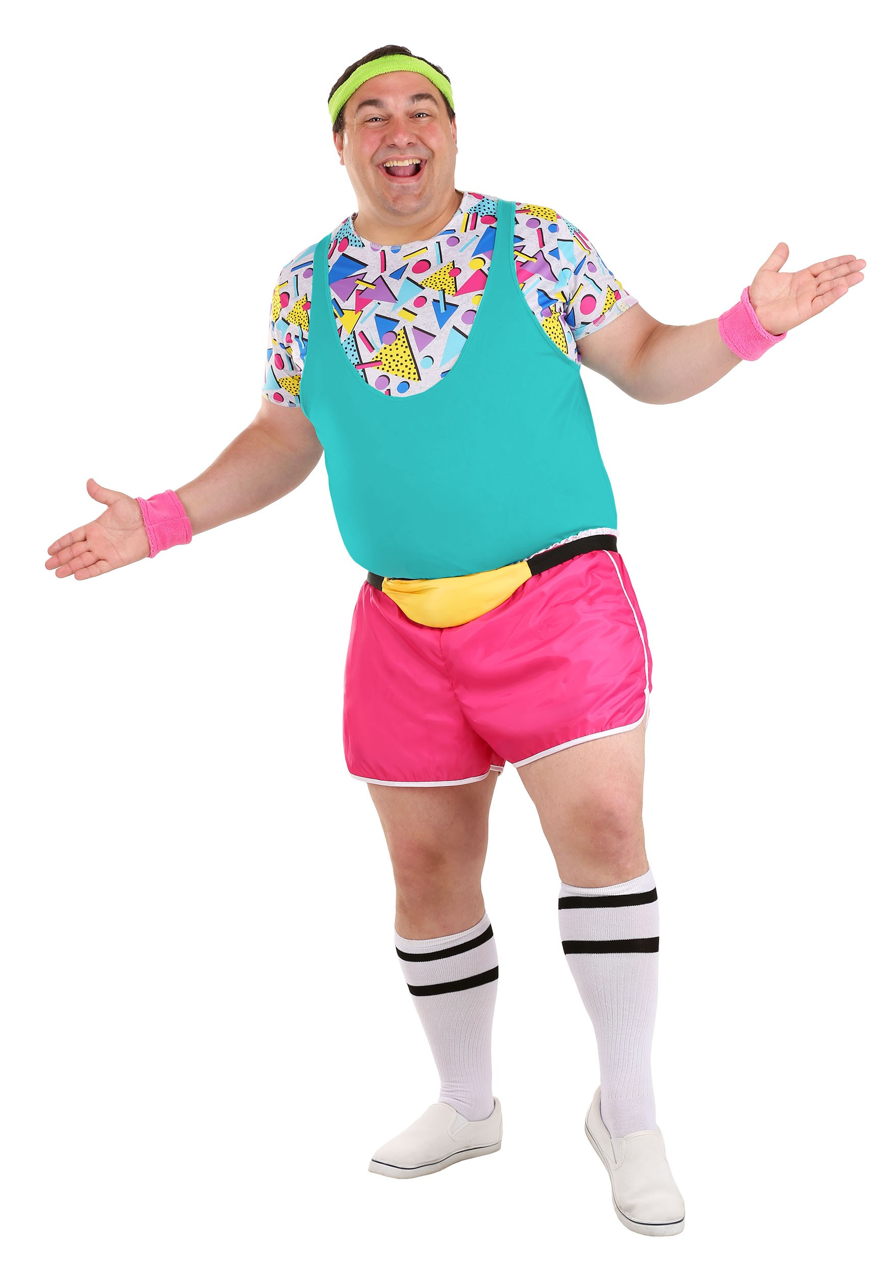 Plus Size Work It Out 80s Costume for Men