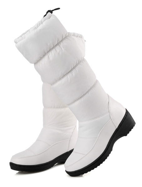 Milanoo White Xmas Snow Boots Women Boots Round Toe Slip On Winter Boots