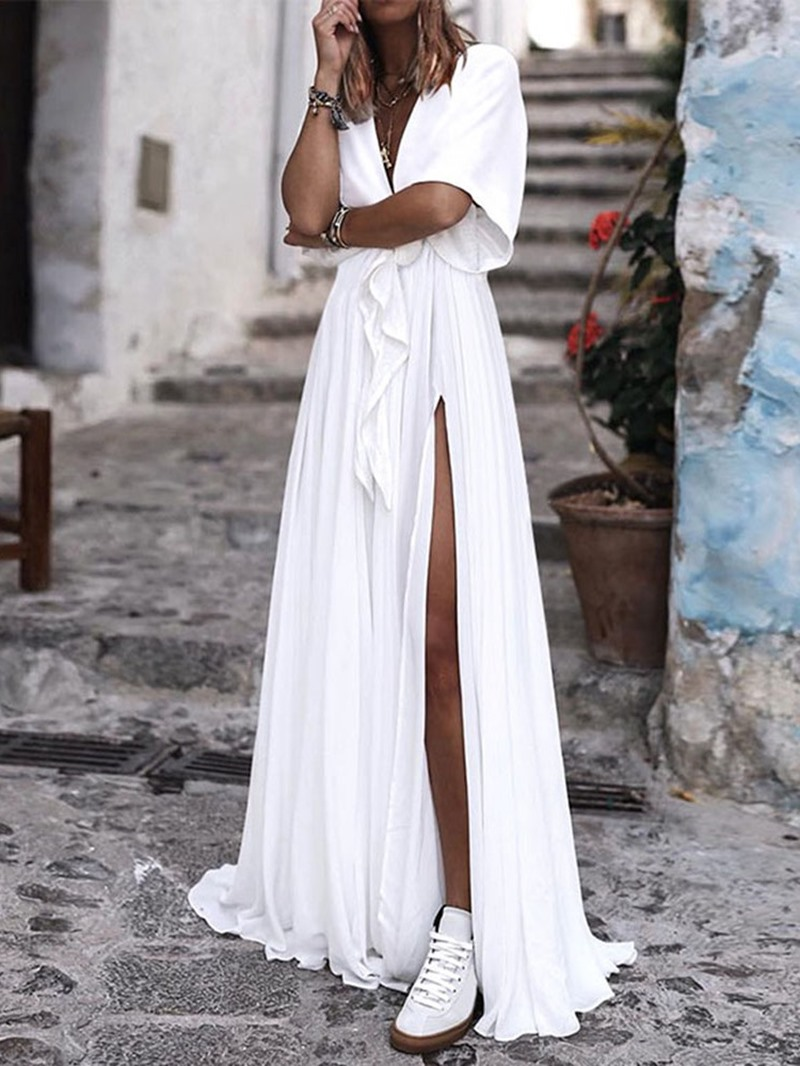 Ericdress V-Neck Floor-Length Short Sleeve Split A-Line Dress