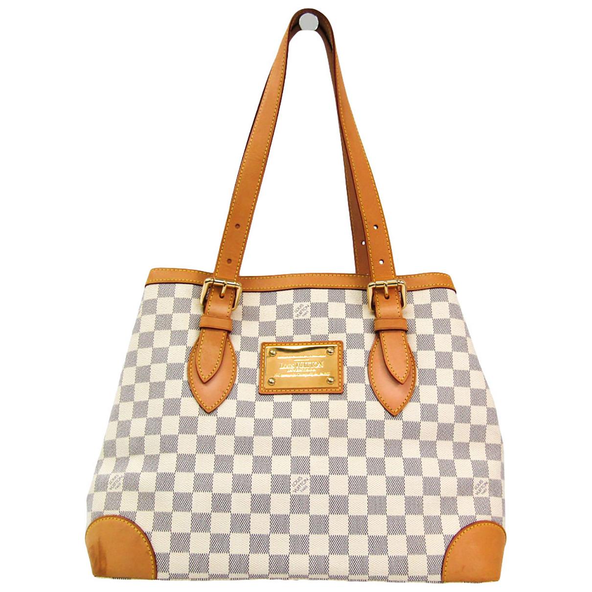 Louis Vuitton Hampstead Handtasche in  Weiss Leinen