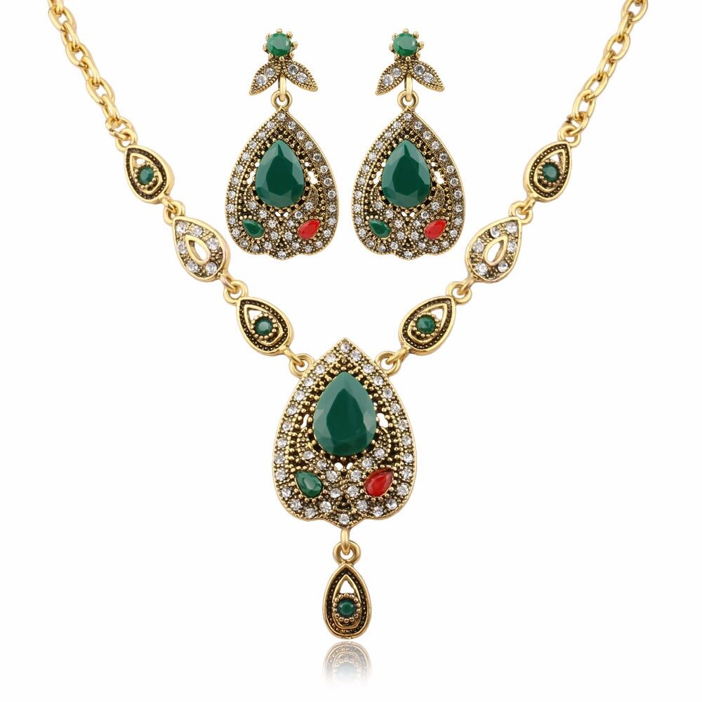 Luxury Water Drop Jewelry Set Gold Chain Rhinestone Charm Necklace Earring Ethnic Jewelry for Women