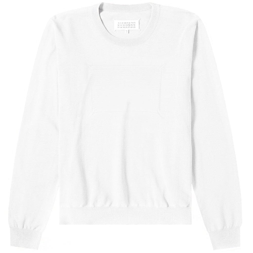 Maison Margiela Knitted Stitch Logo Jumper Colour: WHITE, Size: LARGE