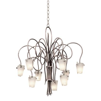 Tribecca 4309PS/ANTQ 9-Light Chandelier in Pearl Silver with Tribecca Antique Filigree Side Glass