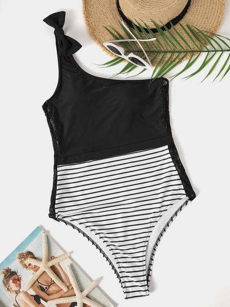 Yoins Black Stripe One Shoulder Sleeveless Swimwear