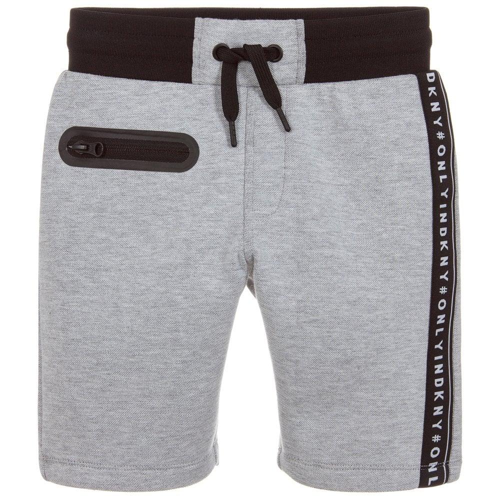 DKNY Kids Cotton Logo Shorts Colour: GREY, Size: 4 YEARS