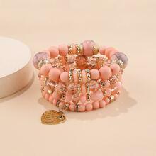 4pcs Heart Charm Beaded Bracelet