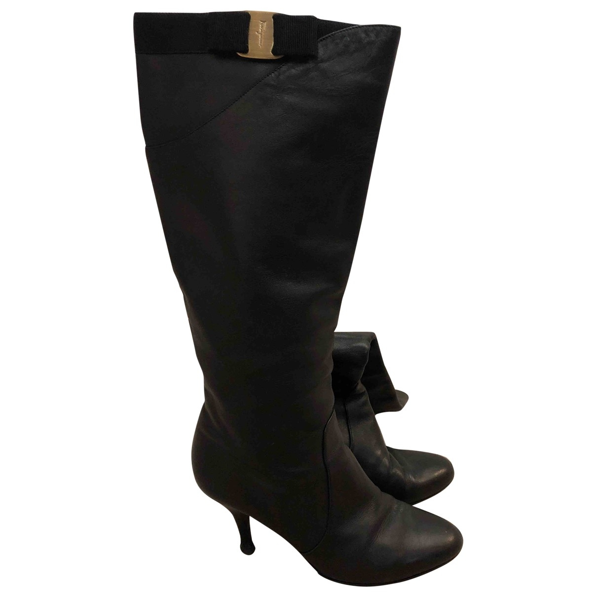 Salvatore Ferragamo \N Black Leather Boots for Women 6.5 US
