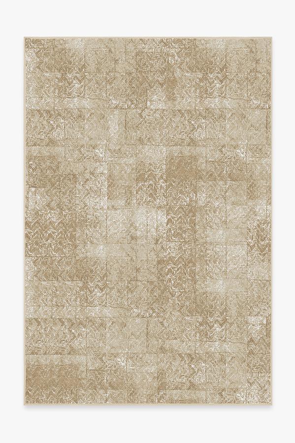 Washable Rug Cover | Herringbone Batik Natural Rug | Stain-Resistant | Ruggable | 6'x9'
