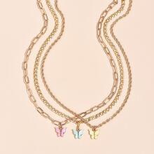 3 piezas collar con mariposa
