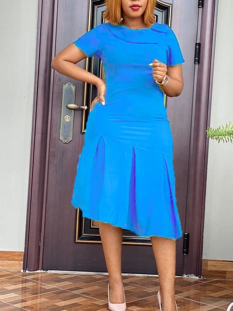 Ericdress Asymmetric Mid-Calf Short Sleeve Plain Pullover Dress