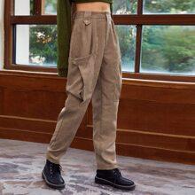 Hose mit hoher Taille und Taschen Flicken
