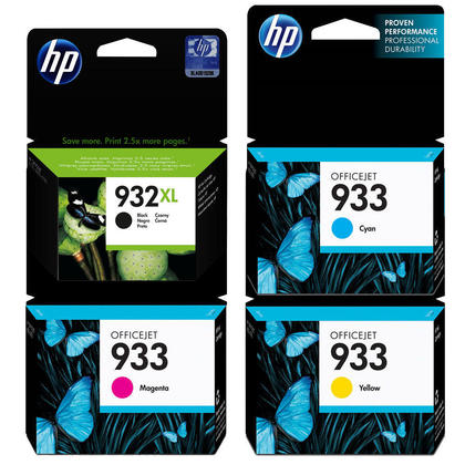 HP 932XL 933 Original Ink Cartridge Combo High Yield BK and Standard Yield C/M/Y