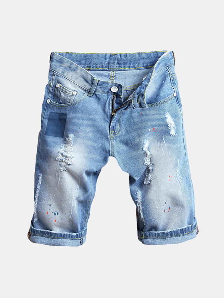 Men Thin Light Blue Hip-Hop Holes Slim Fit Knee Length Jean Denim Short