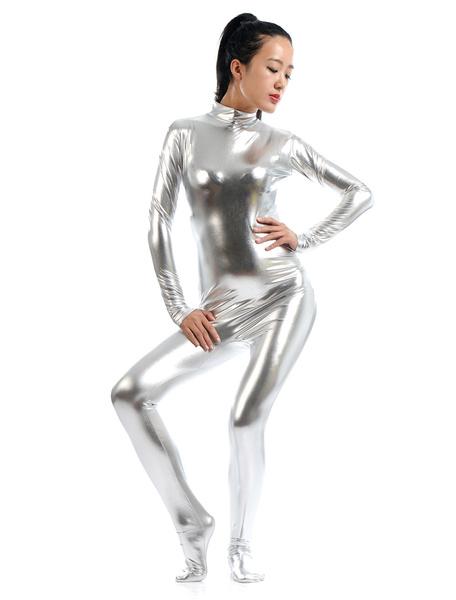 Milanoo Disfraz Halloween Plata brillante metalico Zentai traje para las mujeres Halloween