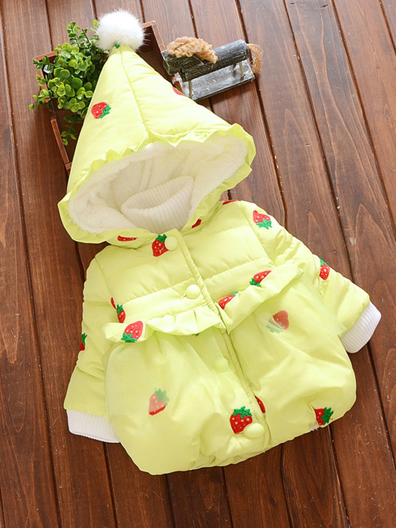 Ericdress Strawberry Print Ruffles Thick Baby Girl's Down Jacket